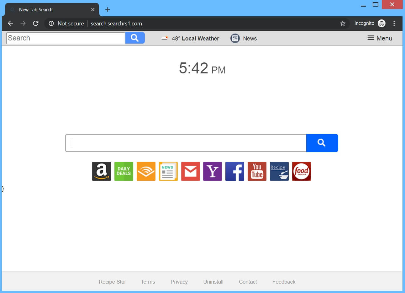 Search.searchrs1.com browser hijacker site