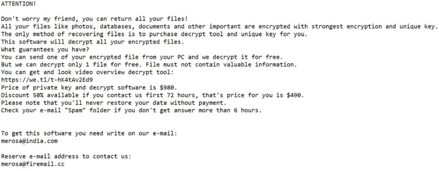 tronas files virus ransom note