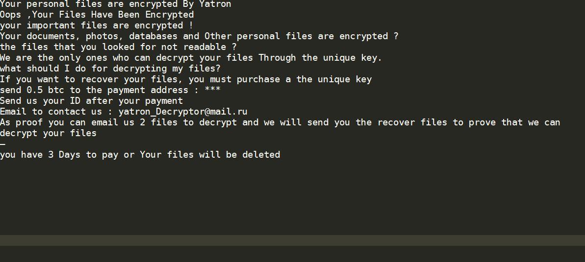.yatron Ransomware virus remove