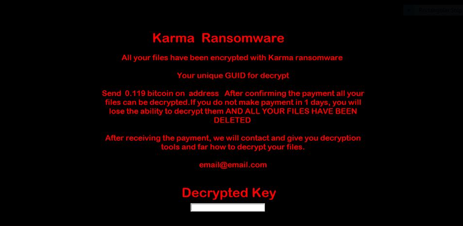 Karma ransomware lockscreen virus remove