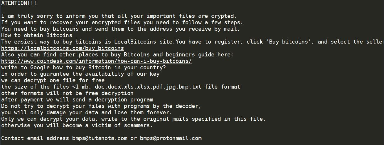 .major Ransomware virus remove