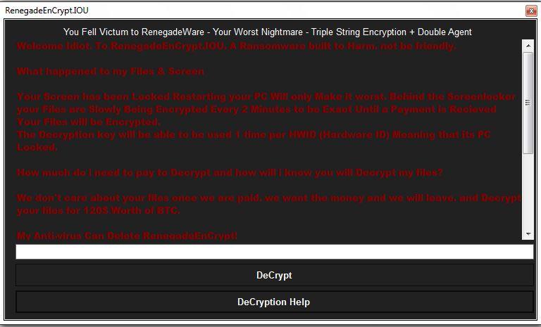 RenegadeWare Ransomware virus remove