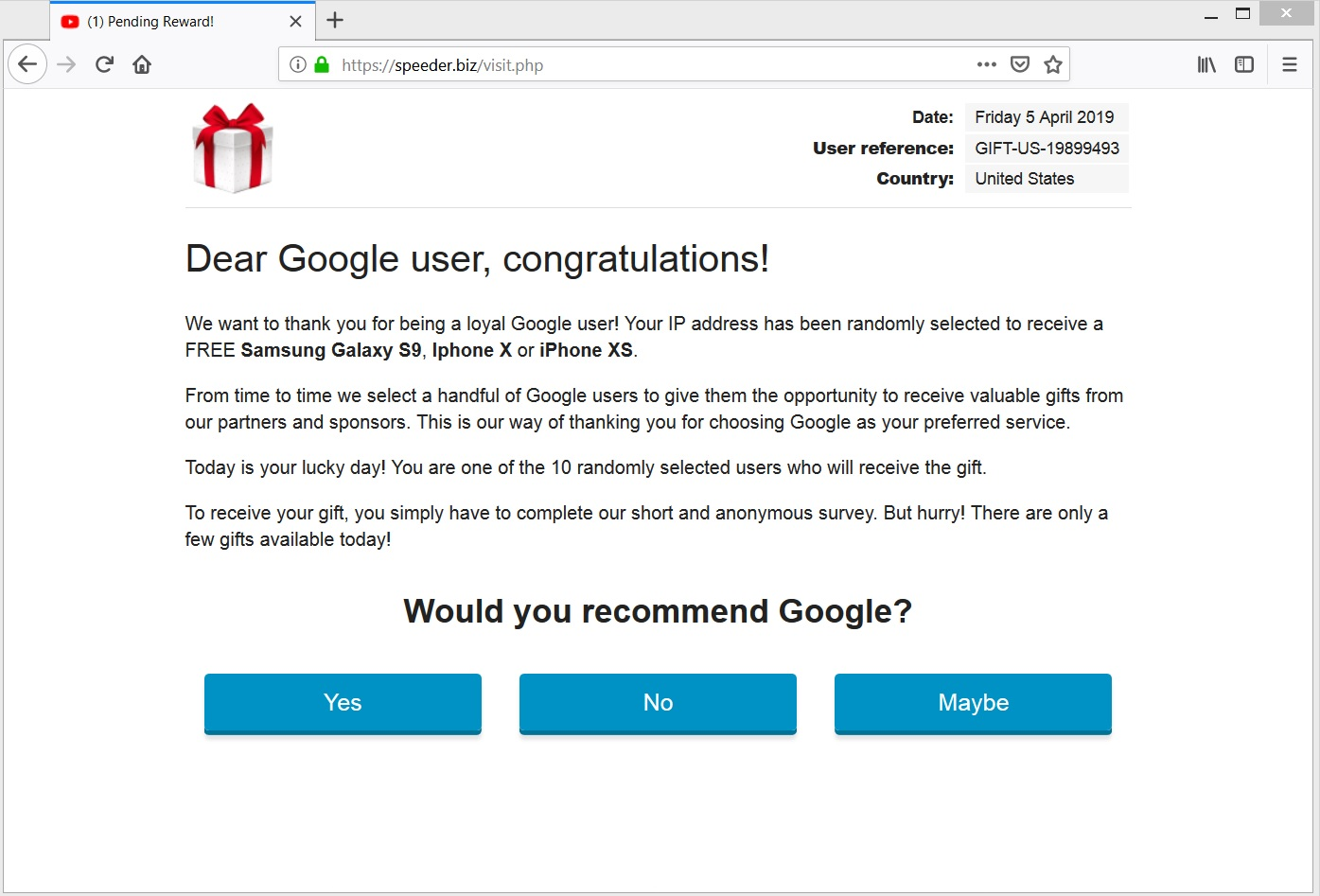 solvability biz dear google user congratulations browser redirect scam sensorstechforum