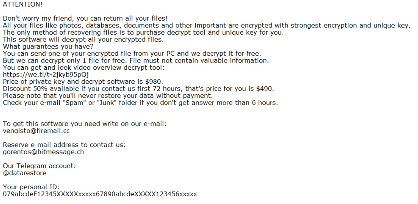 fedasot ransomware note