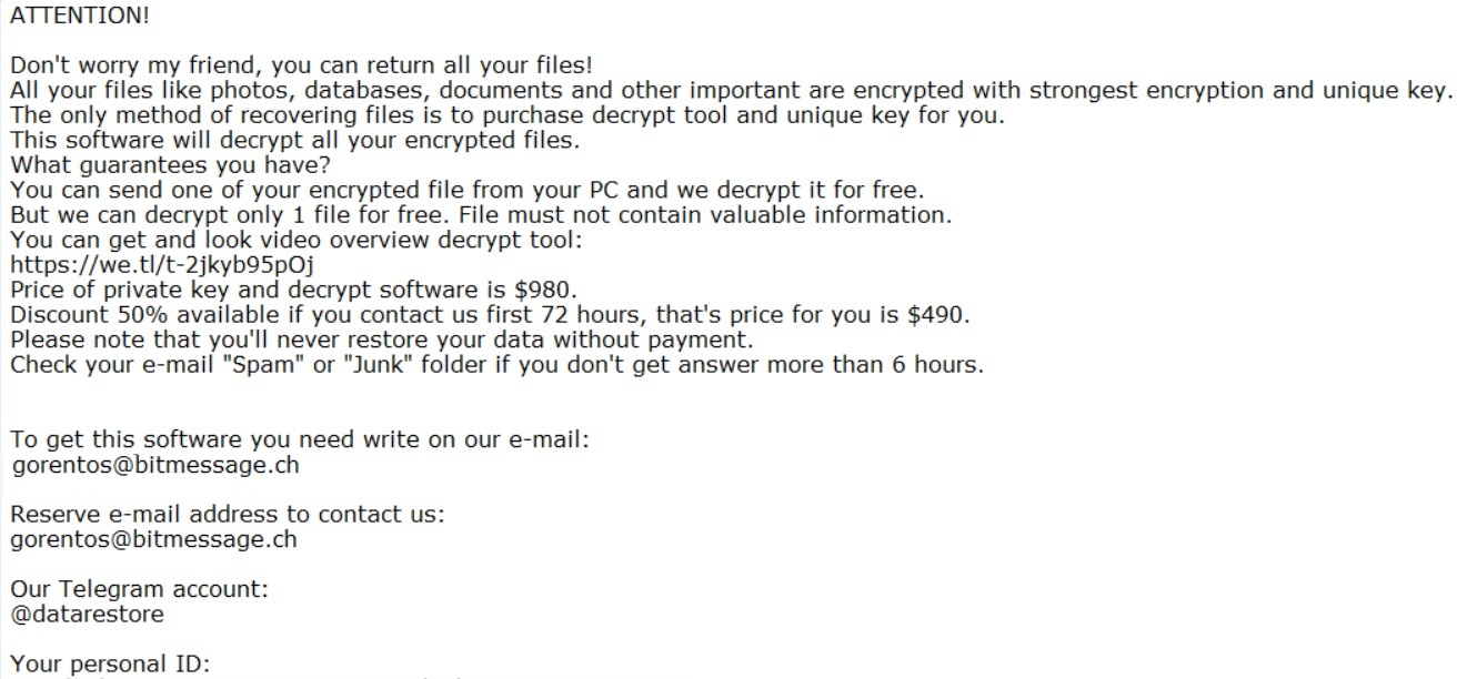 fordan ransomware note