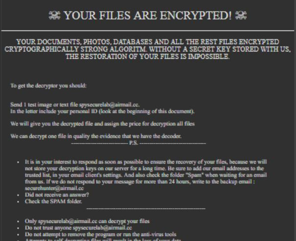 .SECURE Ransomware virus remove