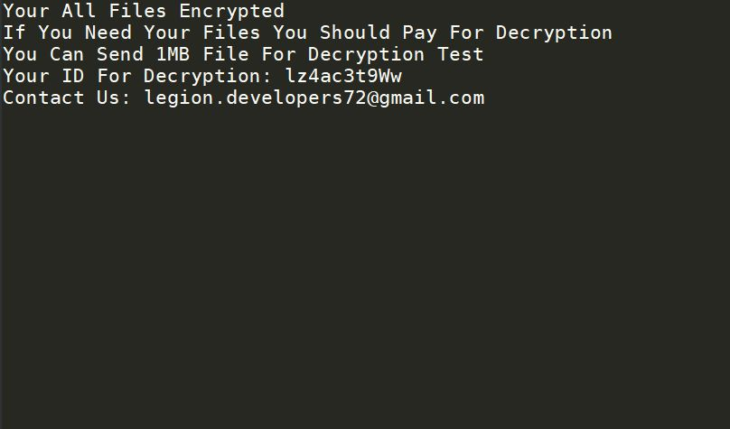 .limbo files virus ransomware note