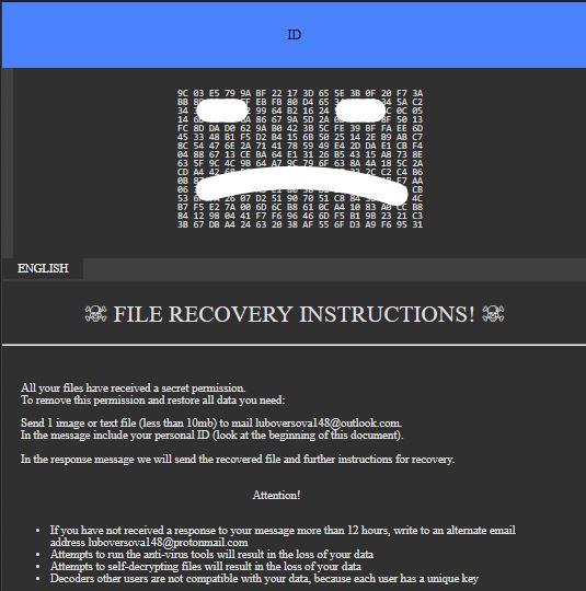 .luboversova148 Ransomware virus remove