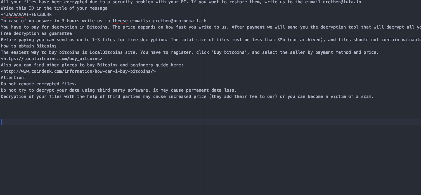 .[grethen@tuta.io] Ransomware virus remove
