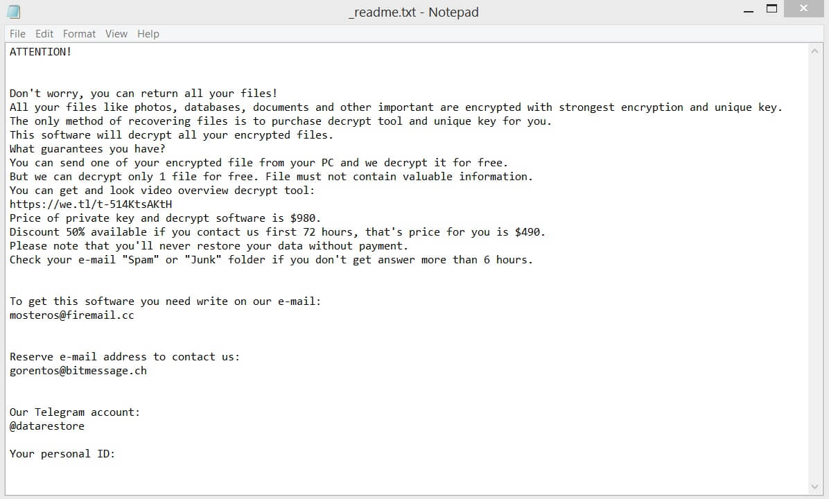 prandel virus stop ransomware losgeld bericht readme txt