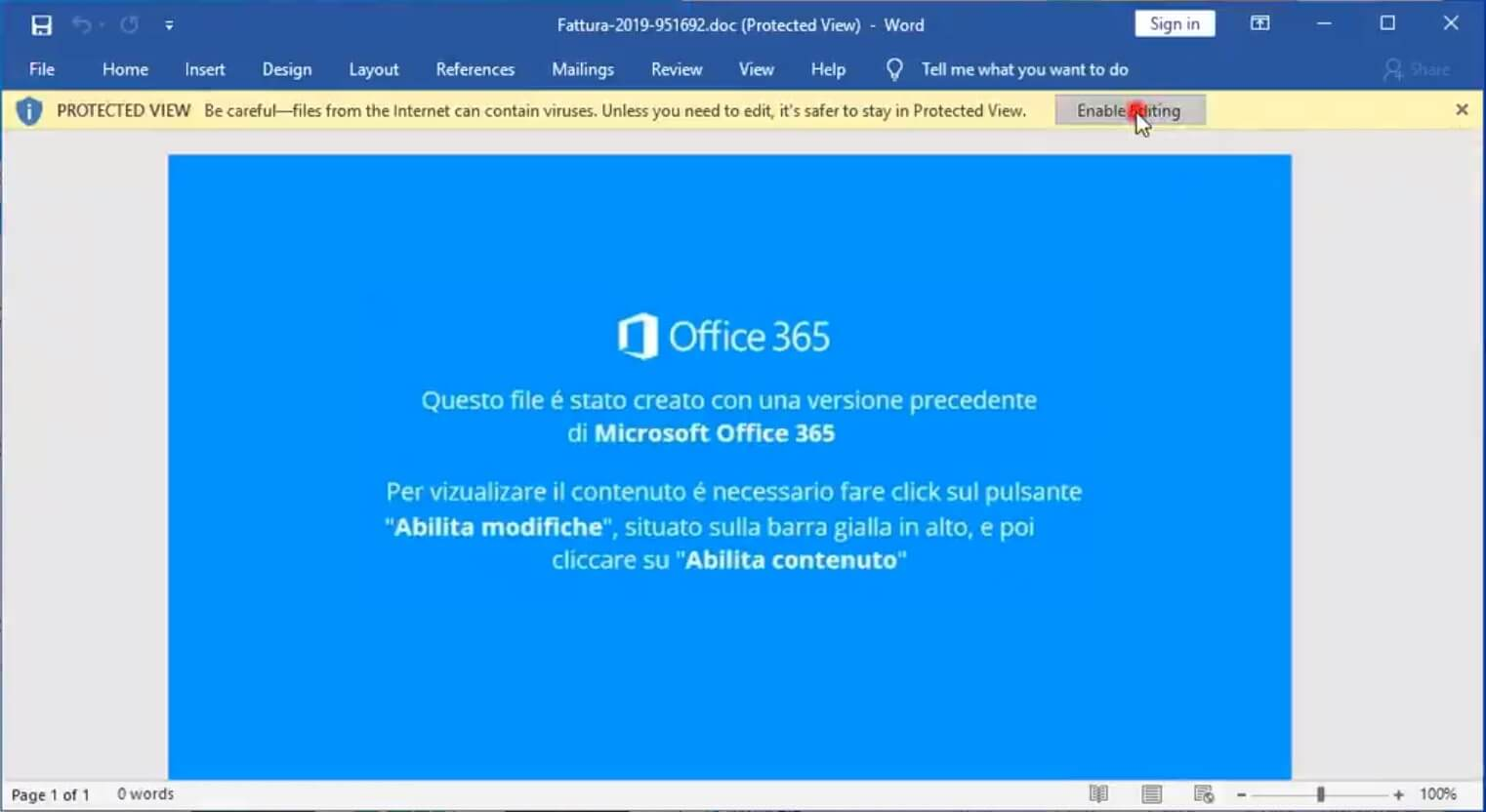 document infecté Fattura-2019-951692 active ftcode ransomware
