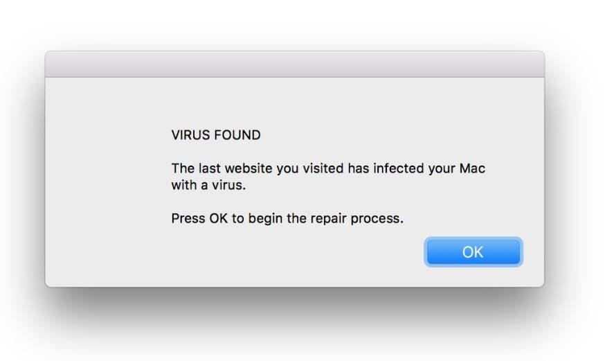 VIRUS FOUND A website you visited today has infected your Mac with a virus scam removal guide