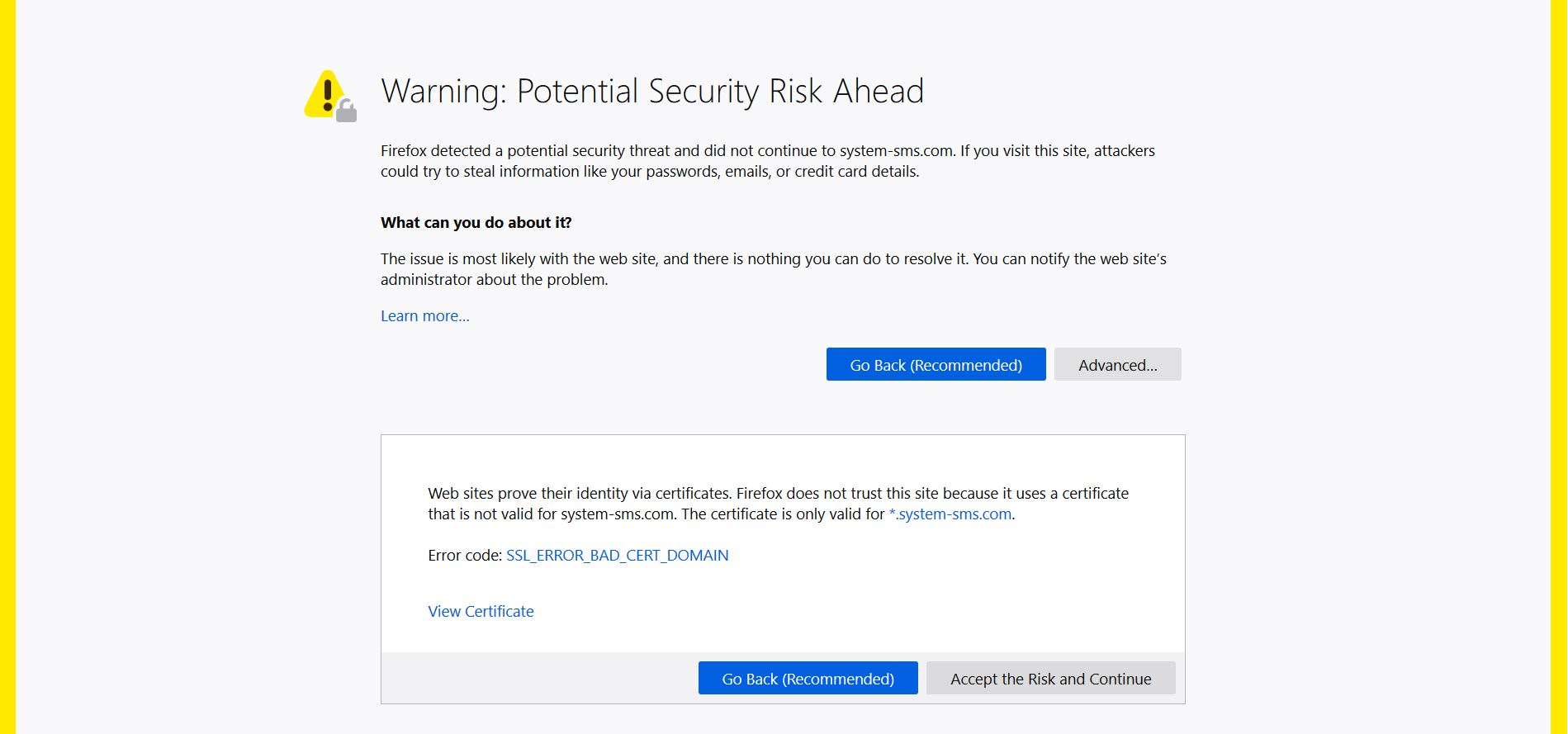 firefox warning notification System-sms.com hides potential security risk sensorstechforum
