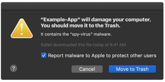 official malware signal message generated by gatekeeper macos