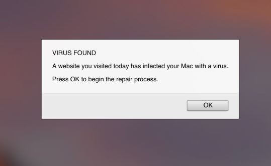 remove website you visited today has infected your Mac with a virus scam message