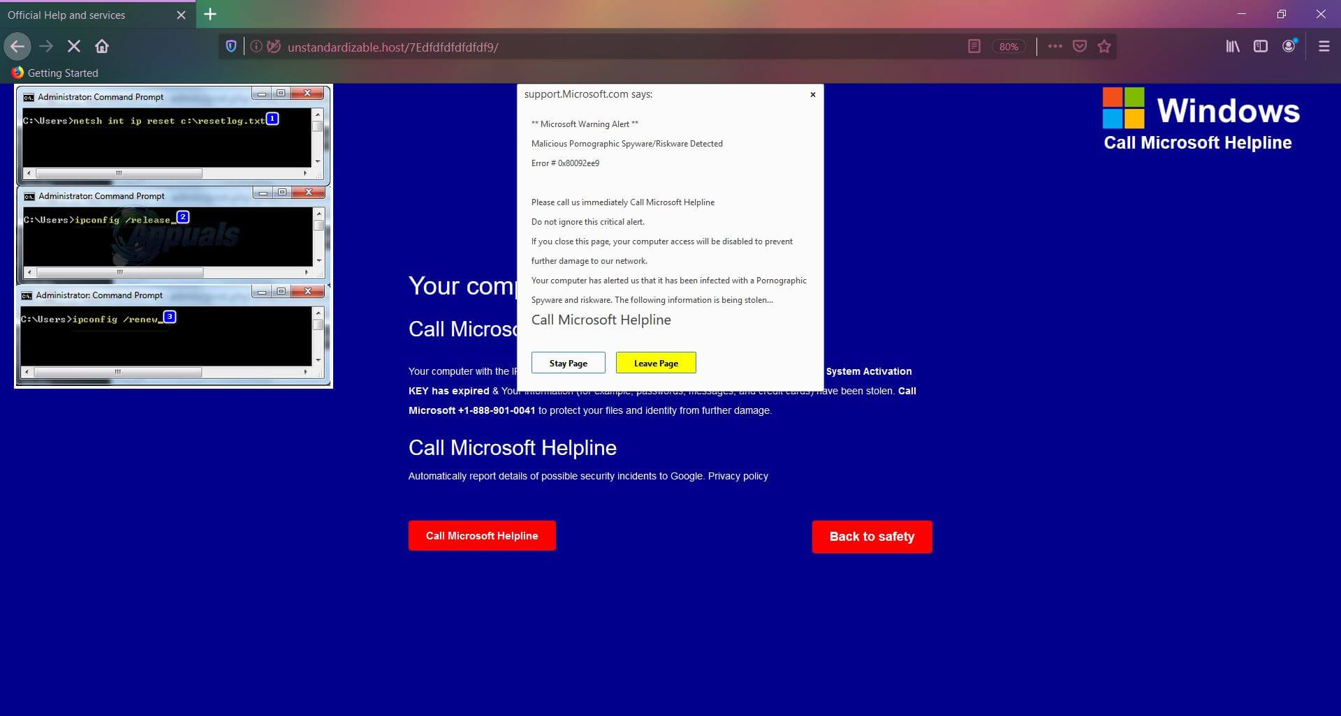 call microsoft helpline +1-888-901-0041 pop-up scam removal guide sensorstechforum