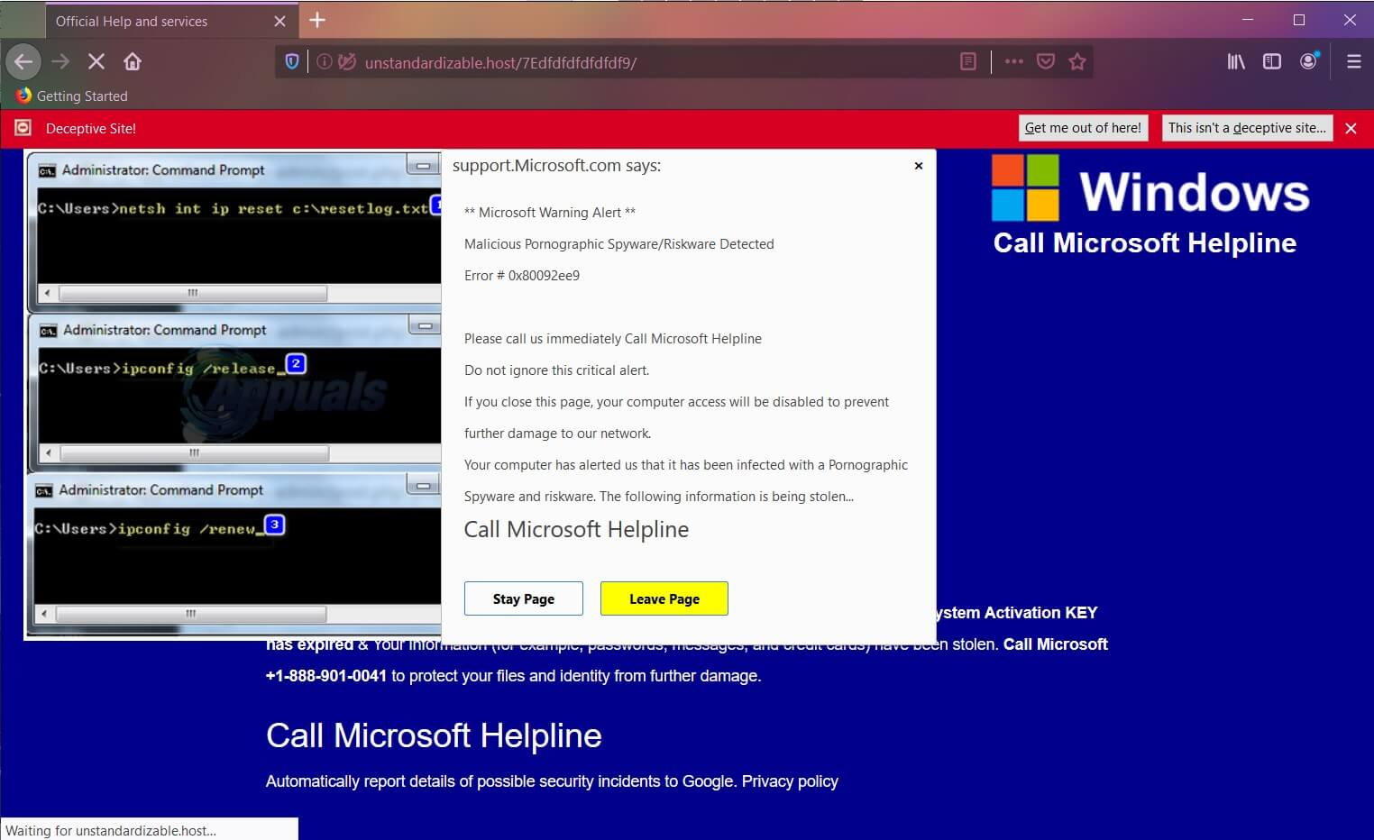 fake Error # 0x80092ee9 message call microsoft helpline scam removal sensorstechforum