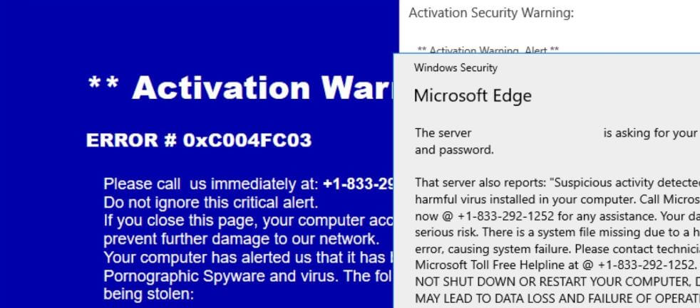 remove ERROR 0xC004FC03 activation security warning scam sensorstechforum