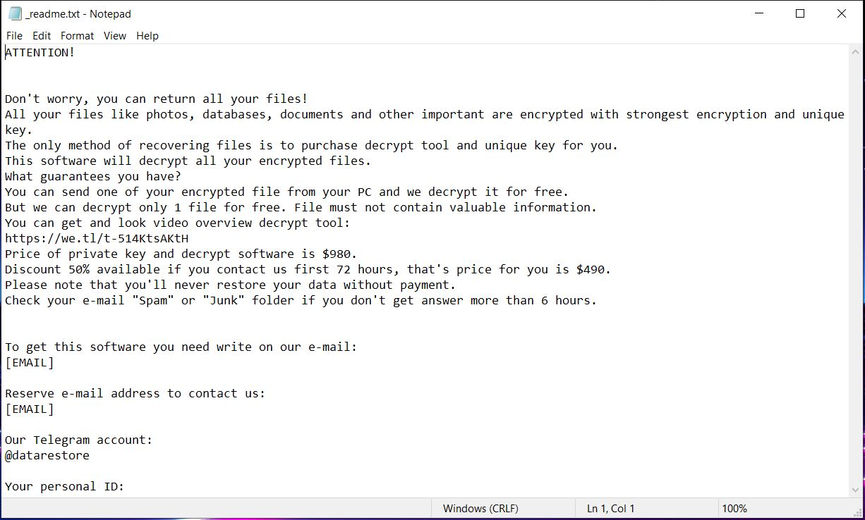 mbed Ransomware Virus ransom note readme txt-Datei Inhalt sensorstechforum