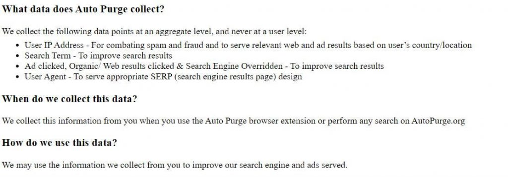 auto purge data collection privacy policy