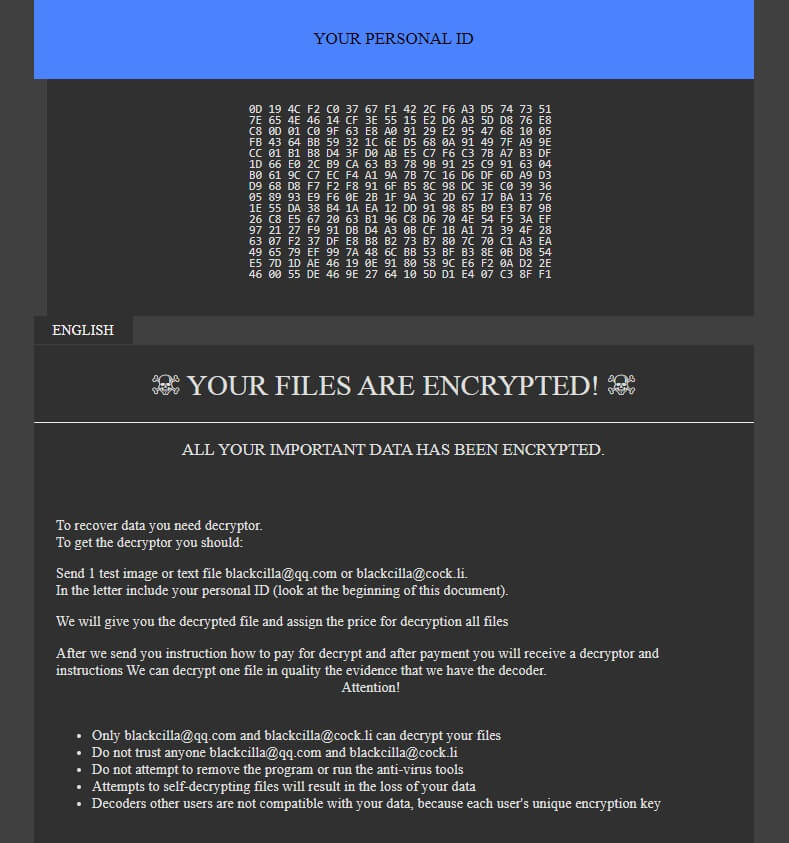 .CILLA Virus File (GlobeImposter) - How To Remove It