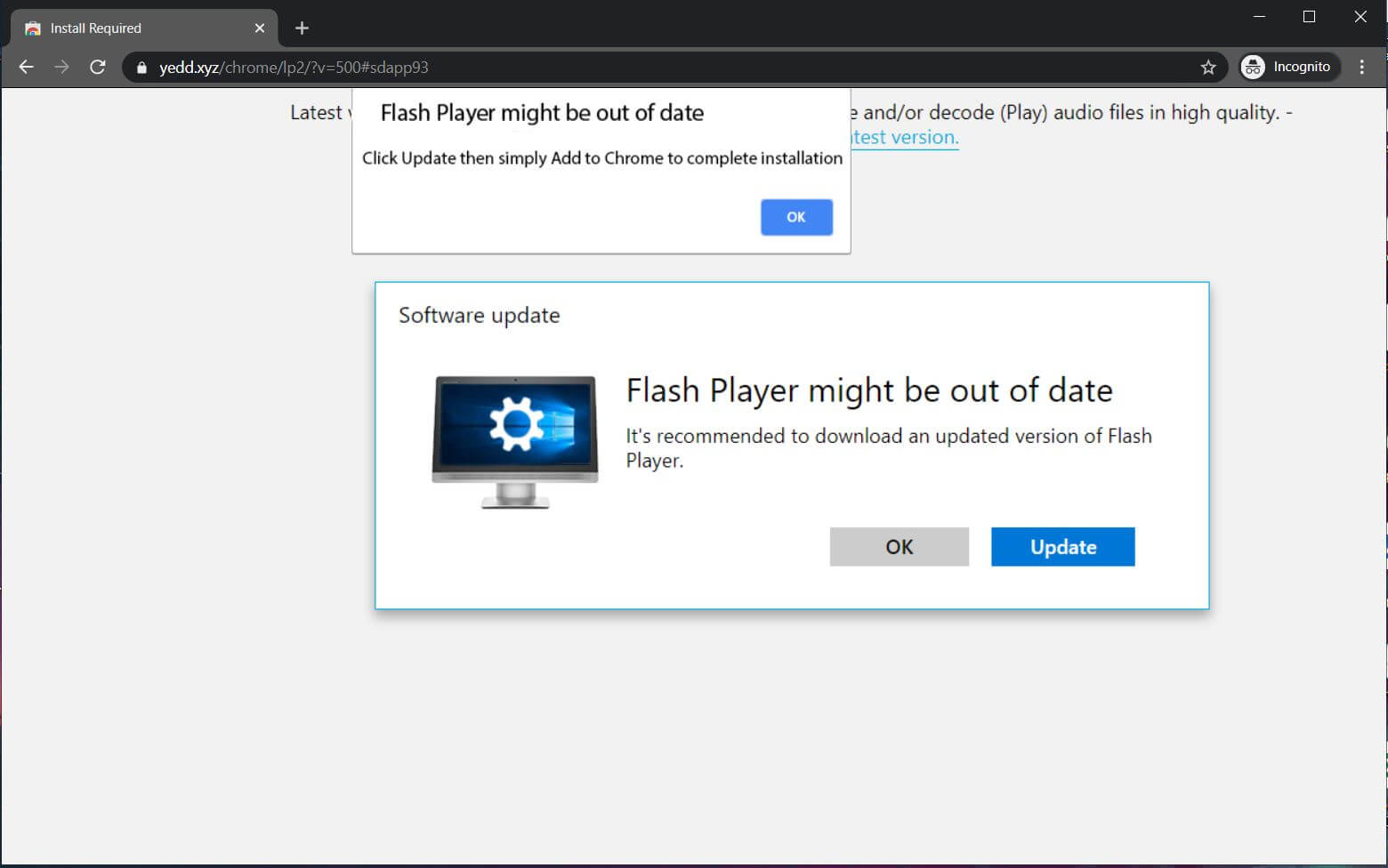 yedd.xyz browser redirect pushes fake flashplayer update rogue software stf
