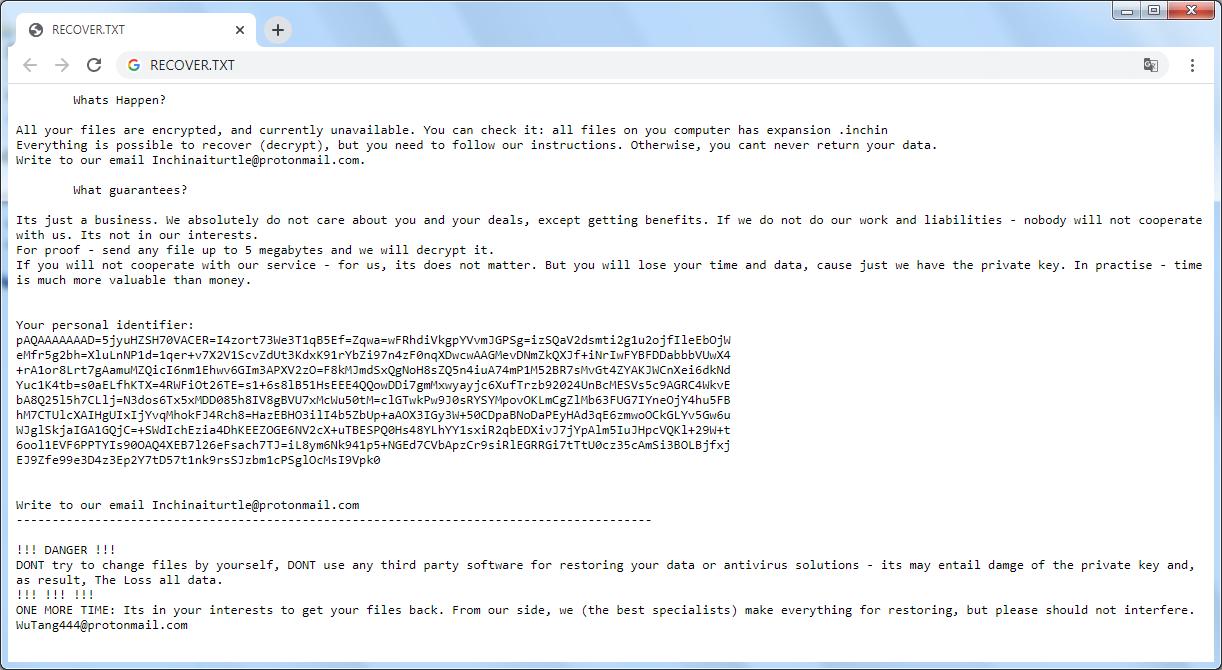 Recover.txt Inchin virus ransomware