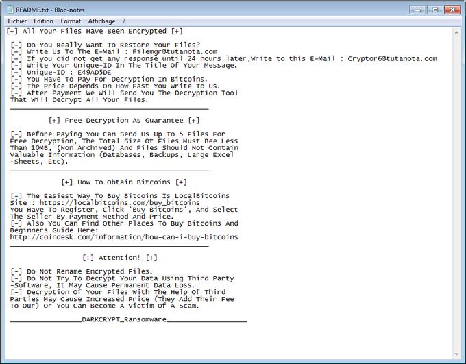readme.txt ransom note darkcrypt ransomware