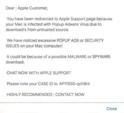 remove Applecomsupport.com pop-up scam