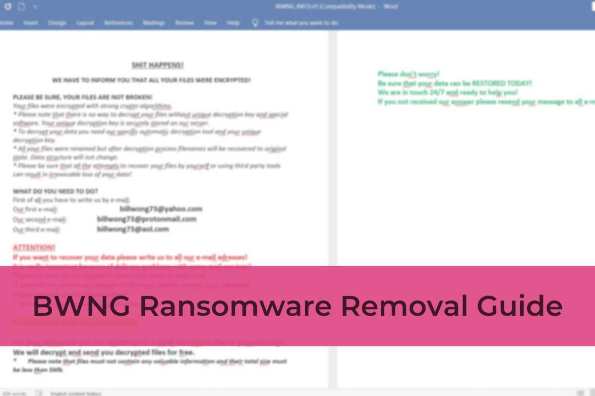 entfernen Ransomware BWNG Virus BWNG Dateien stf wiederherstellen