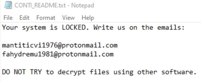 .CONTI Virus File (CONTI Ransomware) - Remove It