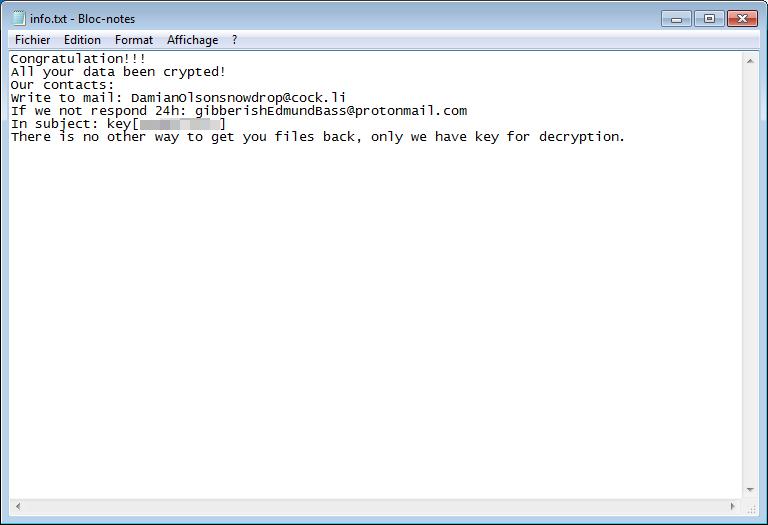 uk6ge ransomware info txt dekryptere besked STF