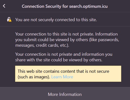 search.optimum.icu connection is not private