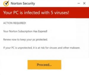 your pc is infected with 5 viruses renew norton subscription