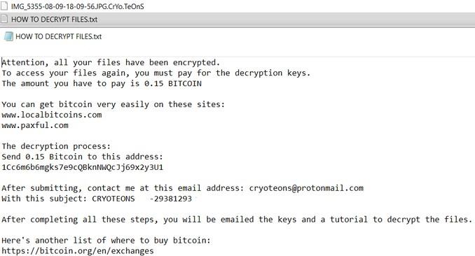 .CrYo.TeOnS Virus remove