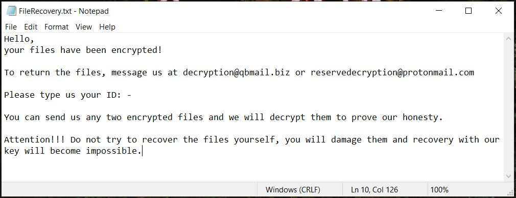 FileRecovery txt ransom note Trix ransomware removal guide