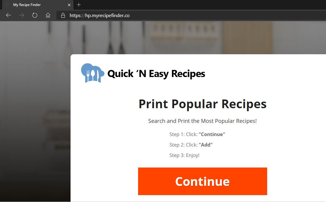 My Recipes Finder redirect image