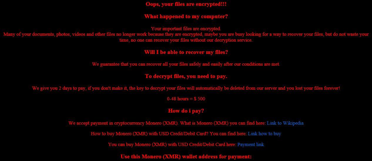 Yogynicof ransomware pop-up message
