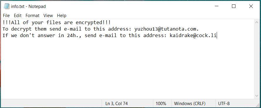 info.txt ransom note chinz ransomware virus