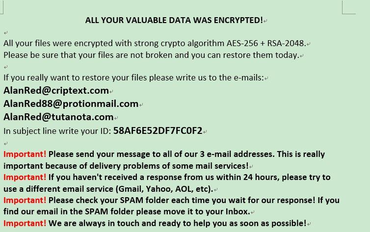 løsepenge note .AL8P virus Matrix løseprogram