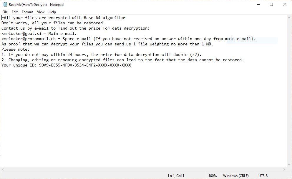 XMRLocker Ransomware virus file image