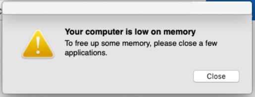 il tuo computer ha poca memoria pop-up su macos
