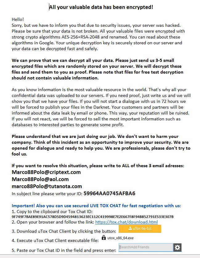 m88p virus ransom message