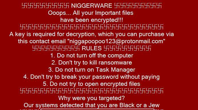 NiggerWare Ransomware ransom instructions image
