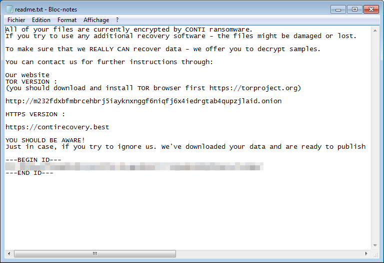 readme.txt FBSYW virus conti ransomware note