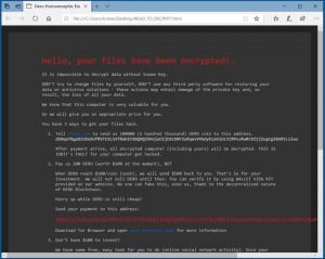Pantalla de mensaje de ransomware DeroHE