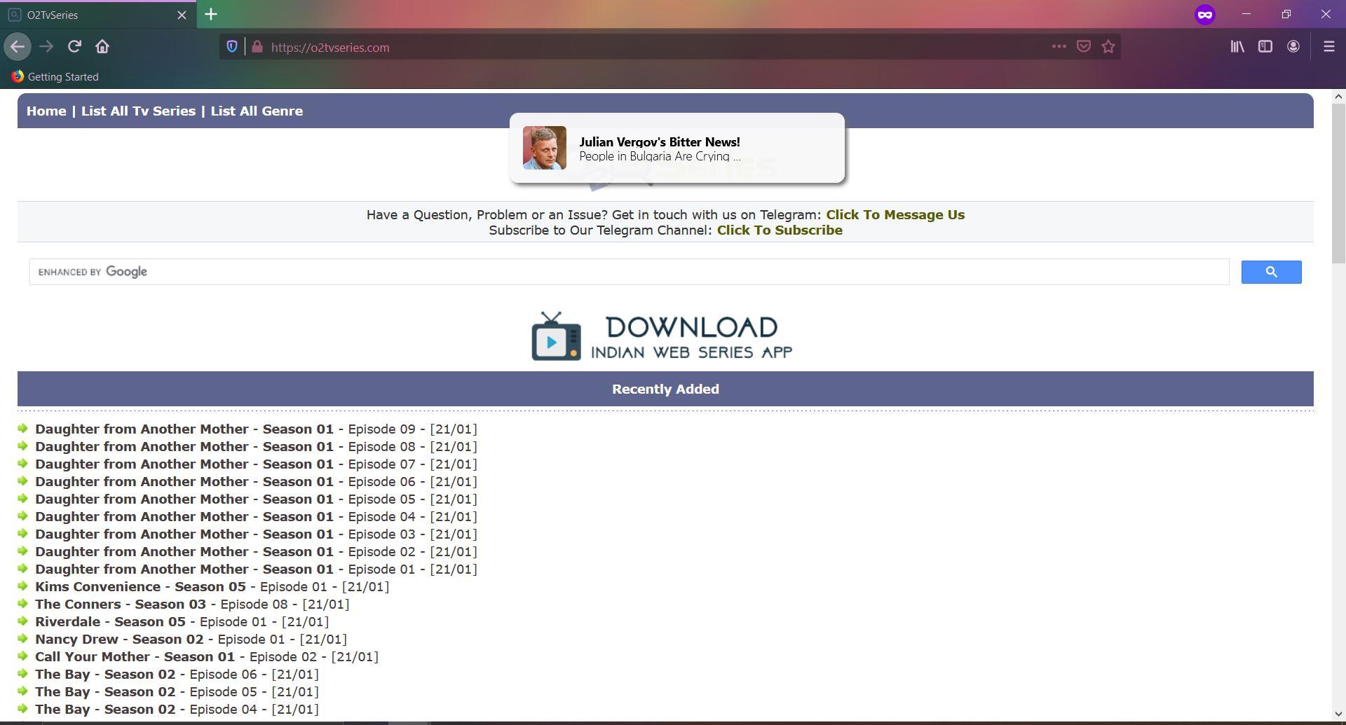 O2tvseries.com ads dangerous site
