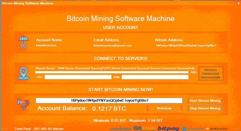 versión legítima de la máquina del software de minería de bitcoin