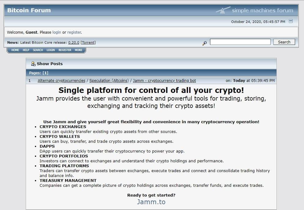 bitcointalk forum screenshot of a fake app advertisement