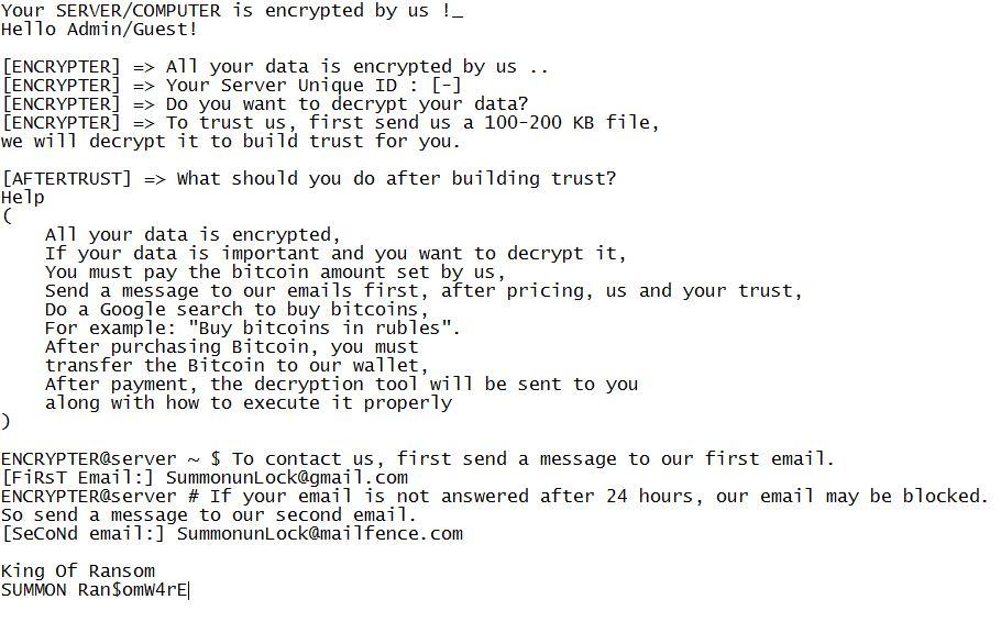 summon ransomware